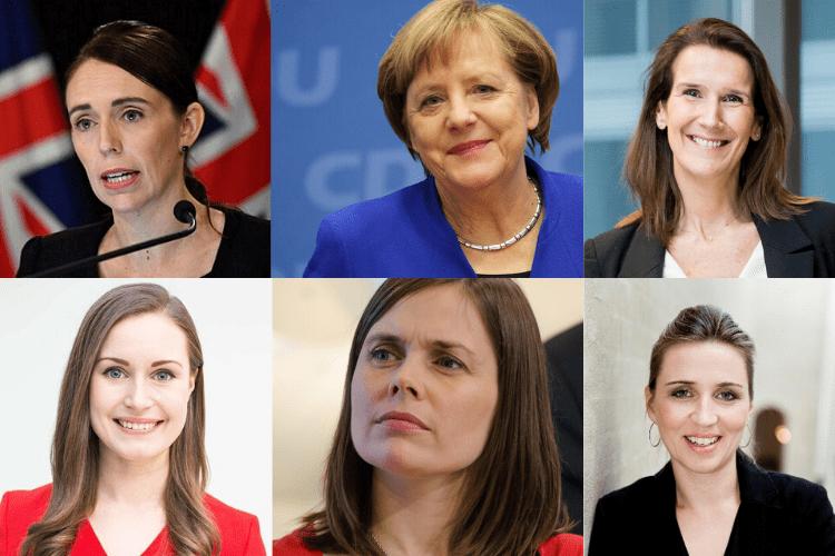 Jecinda Ardern, Angela Merkal, Sophie Wilmès, sanna marin, Katrín Jakobsdóttir, Mette Frederiksen