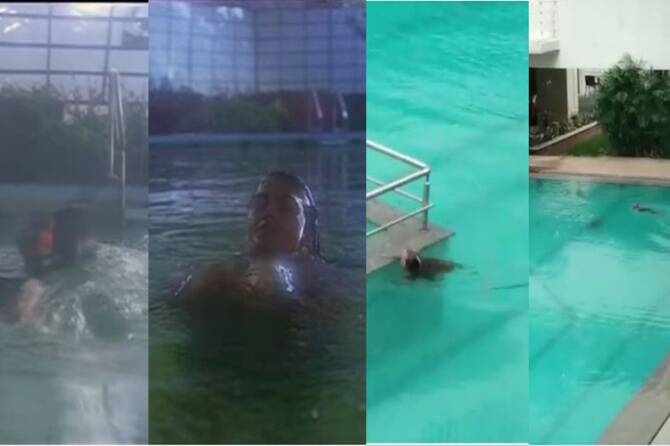 Oru poonga vanam Pudhu Manam Monkeys swimming in pool went viral video