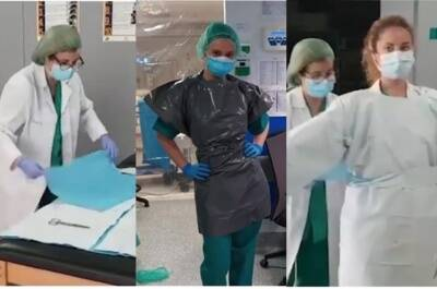 Spain health care workers use trash bags for protective personal gear