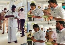 MP Ravindranath Kumar, O Panneerselvam checked the quality of food from Amma Unavagam Theni