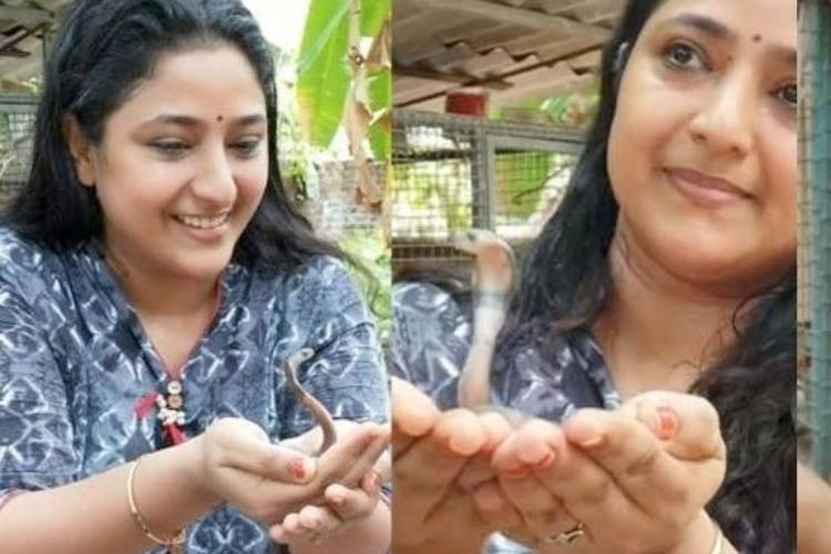 Sun TV Magarasi Serial Artist Praveena with baby cobra