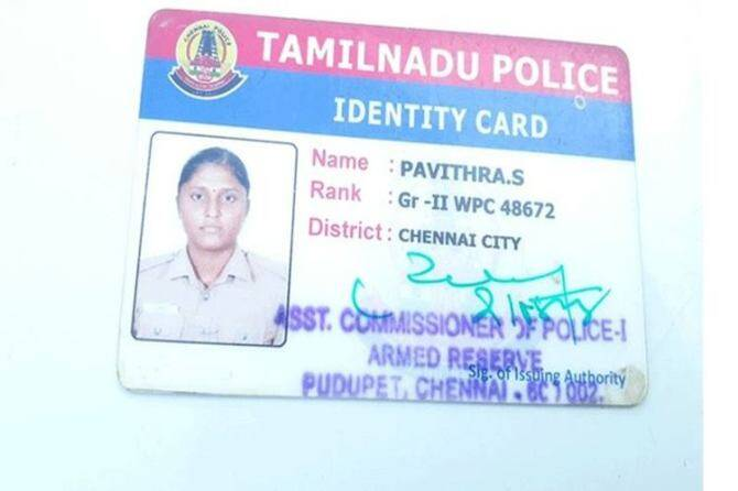 Women Police Pavithra died in a road accident in chennai