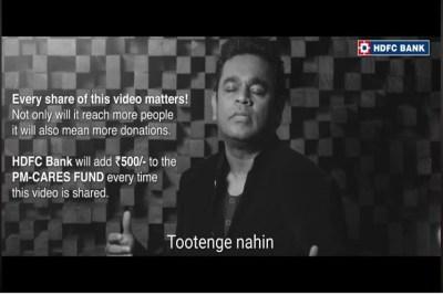 """""""ஹம் ஹார் நஹி மானேங்கே"""" – ஒவ்வொரு ஷேருக்கும் ரூ. 500! ரஹ்மானின் கொரோனா விழிப்புணர்வு பாடல்!"""
