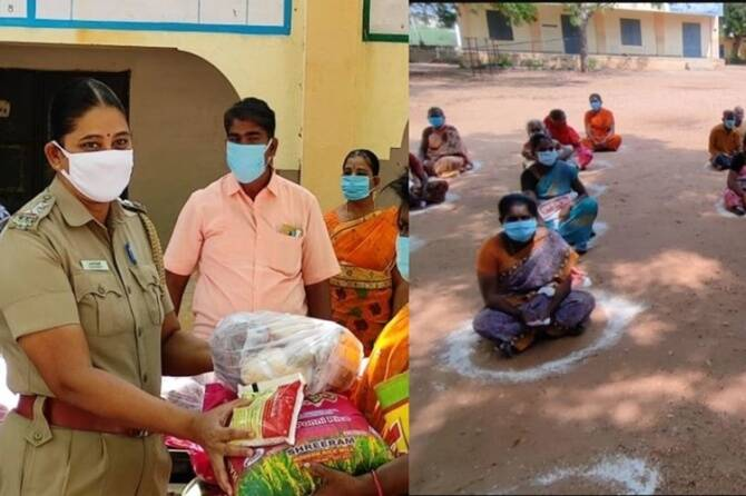 Tuticorin government school teachers provided Rs 1 lakh worth relief goods to 100 families