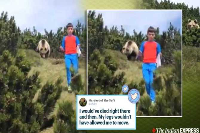 bear, bear attack, 12 year old escapes bear, Italy, bear boy viral video, Italy 12 year old boy, இத்தாலி சிறுவன், கரடியை தைரியமாக டீல் செய்த இத்தாலி சிறுவன், கரடி வீடியோ, சிறுவன் கரடி வீடியோ, வைரல் வீடியோ, brave boy deal with bear, twitter reactions, trending, indian express, tamil indian express news, tamil viral news, tamil viral video news, tamil video news
