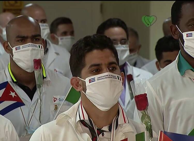 Cuban doctors who sent to fight against covid19 in Italy return home
