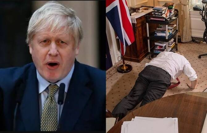 Viral Video of Boris Johnson doing push-ups to prove recovery from Covid-19