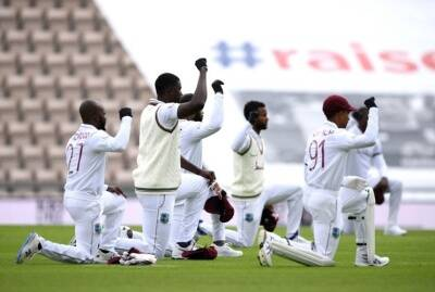 WI and England players took a knee in support of the Black lives matter movement