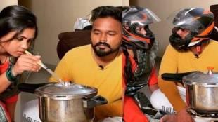 VJ Manimegalai helmet Cooking with her husband