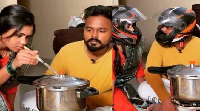 VJ Manimegalai helmet Cooking with her husband