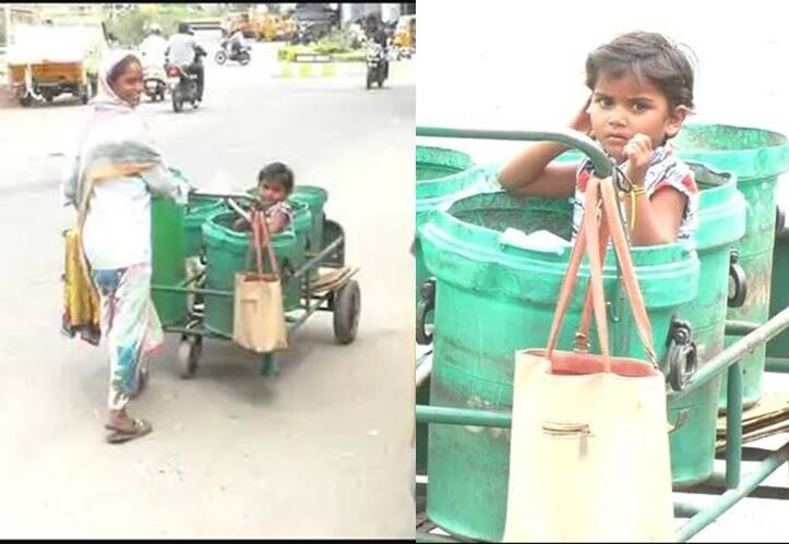 Tirupur cleaner woman keeps her daughter in trash pin while she is working