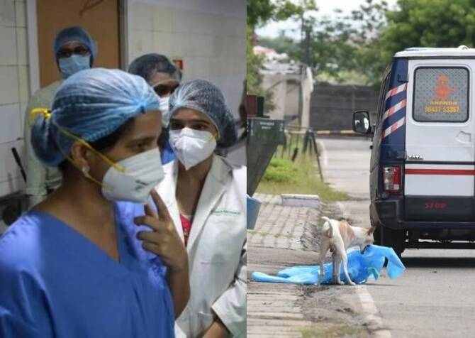 Coimbatore Codissia Corona center dog drags used ppe kit from the center