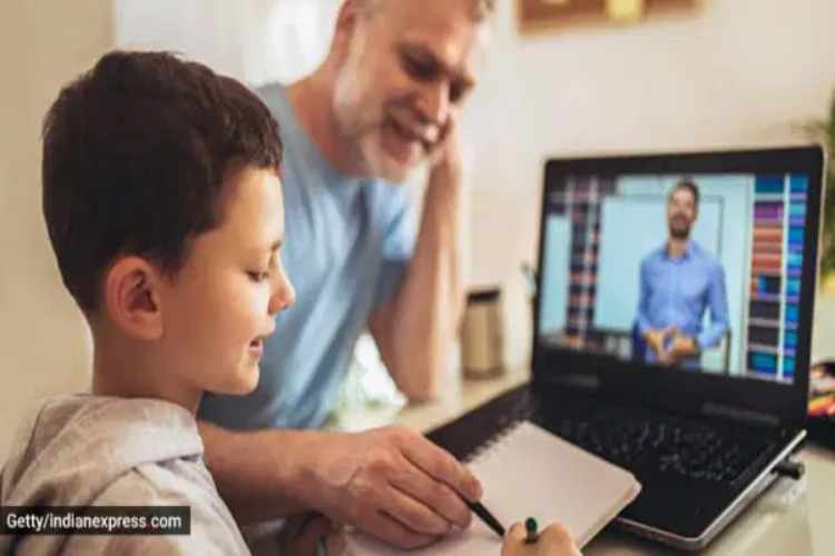 online learning, fathers role in child academics, father helps kids with studies, remote learning, coronavirus covid 19 online education