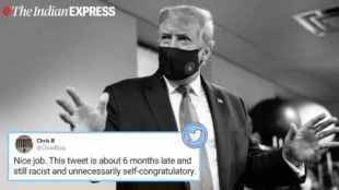 US President Donald Trump, Twitter, facemask, Donald Trump with facemask, Donald trump patriotic, US COVID-19 updates, Coronavirus, Trending news, Indian Express news