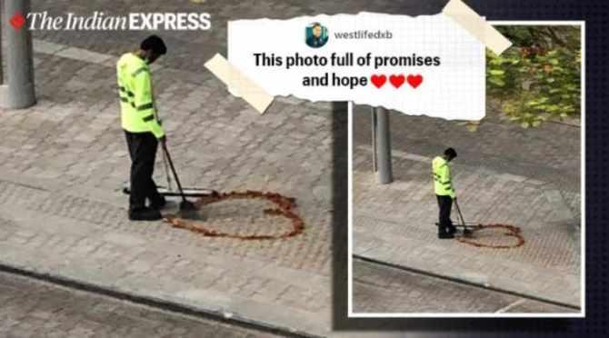 Telangana, Dubai, telangana man, heart with flowers, Instagram, trending news, viral news, indian express news
