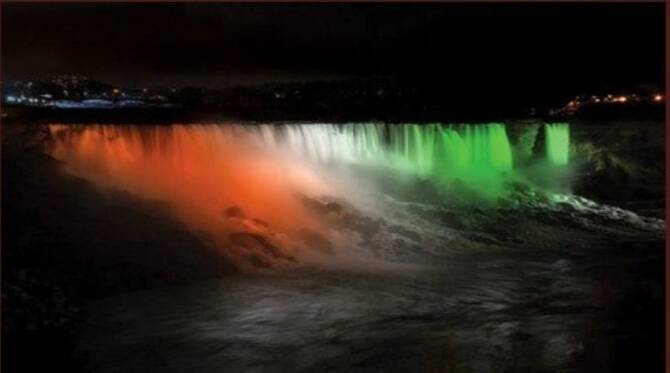 Niagara Falls illuminated with Indian Tricolor on 74th Independence day of the nation