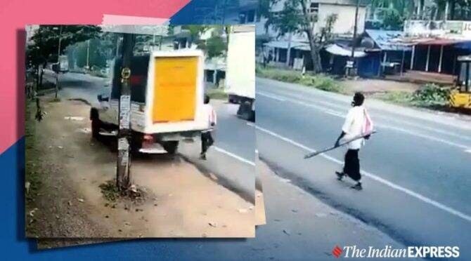 video viral of Kerala man has close shave with speeding vehicle