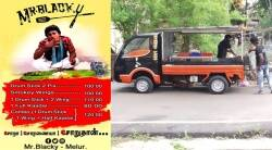 Madurai Melur Mr Blacky food truck restaurant offers Chicken burger