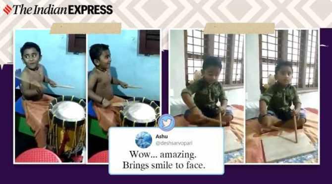 Kerala, boy, video. viral, trending, Malayalam, actor Jayaram, kerala boy playing marble with sticks videos, boy playing drums video, kerala boy gifted drums after viral video, jayaram gift chena kerala boy, Unni Mukundan kerala boy drum kit, indian express