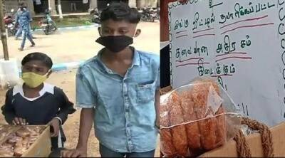 Madurai brothers selling sweets for family income