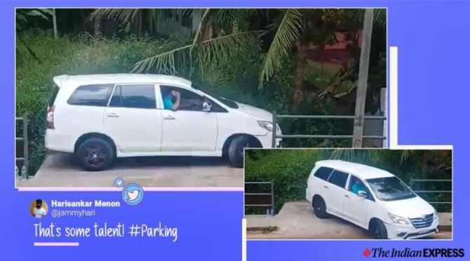 kerala, car parking, parallel parking, good driving skills, parking skills, smooth car parking viral videos, trending, indian express, indian express news