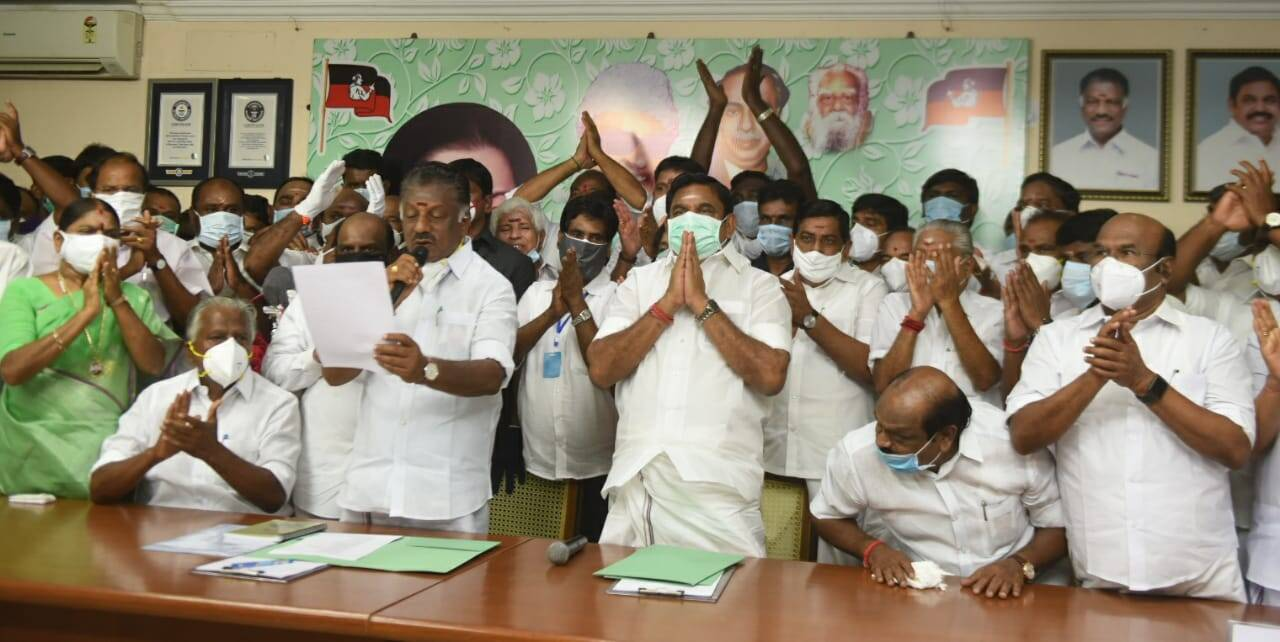 AIADMK CM Candidate Announcement edappadi Palaniswami, O panneerselvam
