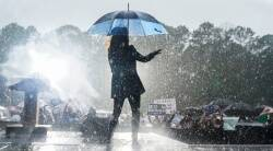 Watch: Kamala Harris dances in the rain