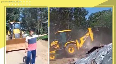 Kerala man demolishes shop using JCB