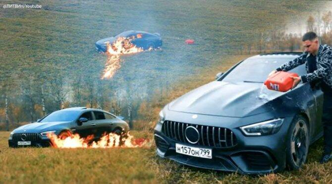 Russian YouTuber sets his $1,60,000 Mercedes on fire