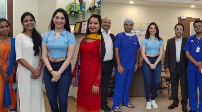 Tamannaah Bhatia thanked to doctors and nurses, கொரோனாவில் இருந்து மீண்ட தமன்னா, மருத்துவர்கள் செவிலியர்களுக்கு நன்றி சொன்ன தமன்னா, தமன்னா மருத்துவர்கள் செவிலியர்கள் புகைப்படம் வைரல், Tamannaah Bhatia meets doctors after covid-19 recovery, tamannaah doctors nurses photos goes viral, tamil cinema news, latest tamil news, coronavirus, covid-19