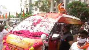 BJP, l murugan, bjp Vel Yatra, l murugan vel yathra in Chennai disrupts traffic, வேல் யாத்திரை, பாஜக, எல் முருகன், ஆம்புலன்ஸ் சிக்கியது, ஆம்புலன்ஸ், சென்னை, vel yathra ambulance stuck for 30 mins, chennai ambulance stuck, vel yathra, chennai