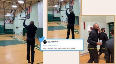 Barack Obama shows off basketball skills on campaign trail