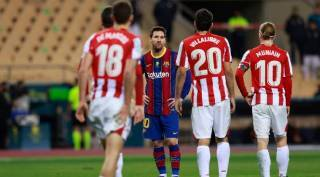 Messi suspended for hitting Asier Villalibre in the Spanish Super Cup final - மெஸ்சிக்கு தடை? பந்தே இல்லாத இடத்தில் சக வீரர் மீது தாக்குதல்
