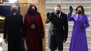 Kamala Harris Michelle Obama wore purple dress Tamil News