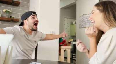 woman telling to her husband she pregnant, woman says pregnant with lottery scratch off card, viral video, சுரண்டல் லாட்டரி மூலம் கருவுற்றிருப்பதை சொன்ன பெண், வைரல் வீடியோ, லாட்டரி சீட், ஹெய்லி பெய்ஜ், telling my husband i am pergnant video, haily baez, tamil viral news, tamil viral video news
