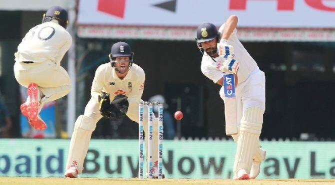 Cricket news in tamil Chennai test Ind vs eng Rohit Sharma hits century and rahane hits fifty