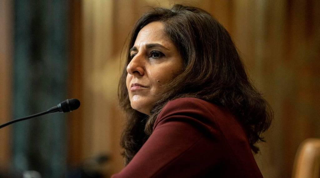 Neera Tanden appears before a Senate Committee on the Budget hearing on Capitol Hill in Washington. (Anna Moneymaker/The New York Times via AP, Pool, File)
