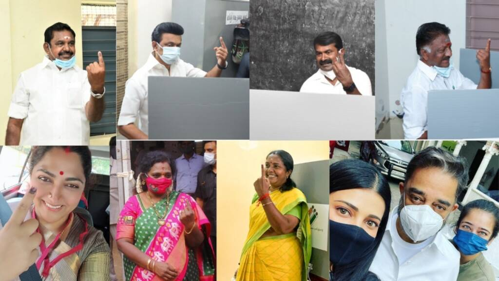 Tamil Politicians after voting Photo Gallery