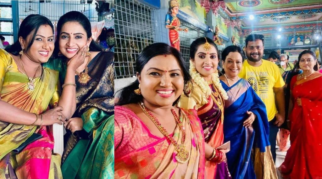 vijay tv, pandian stores serial, pandian stores dhanam - murthy marriage flashback scenes, பாண்டியன் ஸ்டோர்ஸ், தனம் மூர்த்தி கல்யாணம் ஃபிளாஷ் பேக், நடிகை கம்பம் மீனா, கம்பம் மீனா, actress kambam meena reveals photos. actres kambam meena sellamuthu