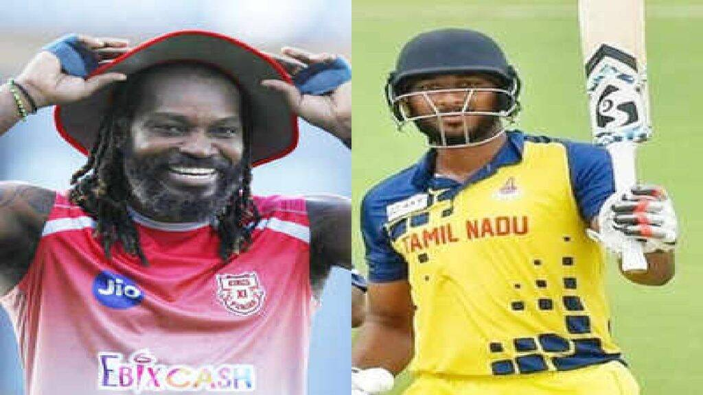 pl 2021 Tamil News: Punjab Kings vs Rajasthan Royals, tamilnadu player shahrukh khan receives cap from his role model Chris Gayle