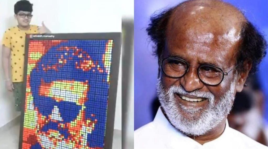 Rajinikanth, Rajinikanth wishes Kerala Boy Advaidh, நடிகர் ரஜினிகாந்த், ரஜினி, சூப்பர் ஸ்டார், little boy Advaidh creates Rubiks Cube mosaic, ரூபிக்ஸ் க்யூப் மொசைக், க்யூப்ஸ் படம், கேரள சிறுவன் வரைந்த க்யூப்ஸ் ரஜினி புகைப்படம், வைரல் வீடியோ, rubiks cube mosaic portrait of Rajinikanth, viral video, rajinikanth wishes audio
