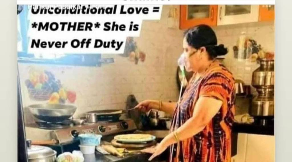 Viral photo of woman cooking while on oxygen support triggers debate online