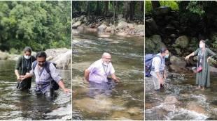 Kerala doctors cross river trek several kilometres to reach tribal village