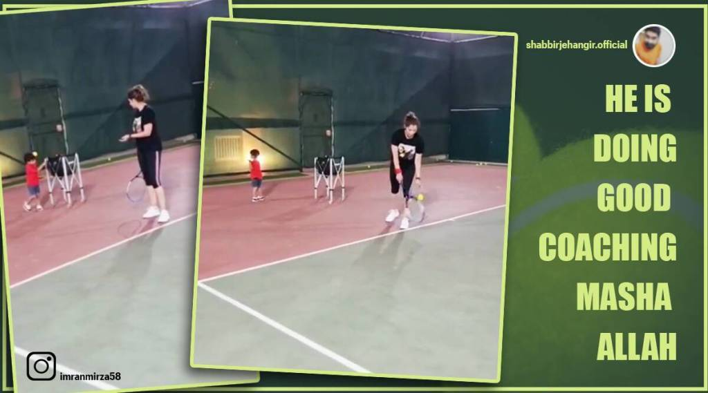 Trending Viral Video of Sania Mirzas 2-year-old son helping her with practice