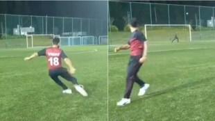Virat kohli viral Video Tamil News: Virat Kohli's free kick attempt ends up hitting crossbar goes viral