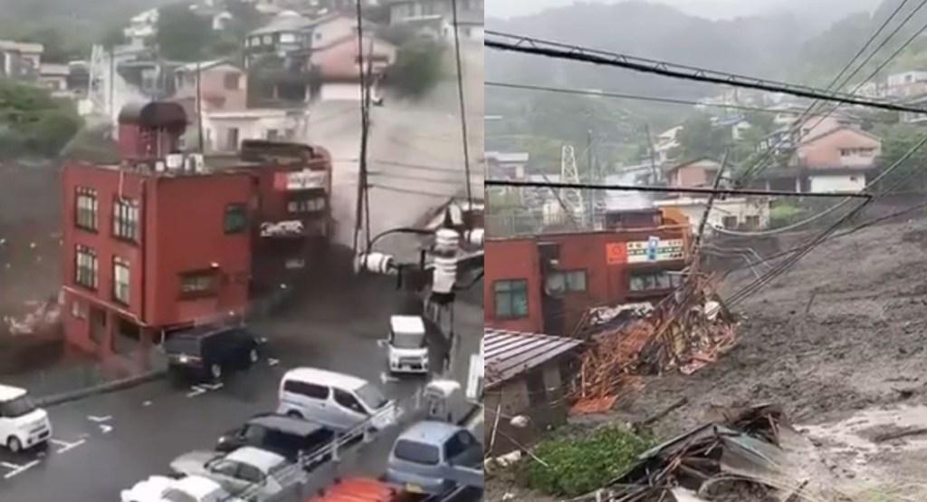 viral video of atami landslide