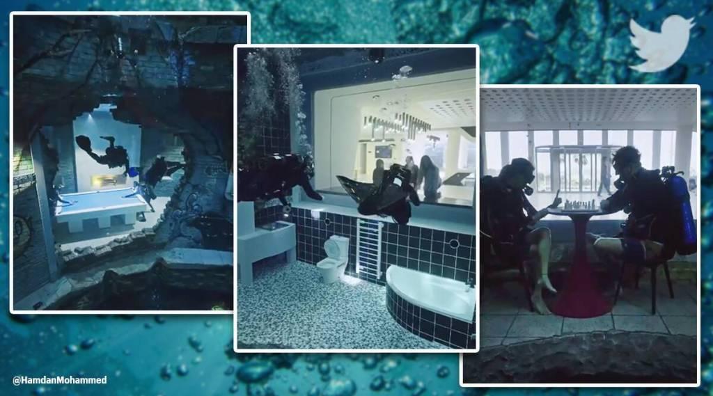 Deep Dive Dubai worlds deepest swimming pool, dubai, poland, deepest poor viral video, indian express, indian express news