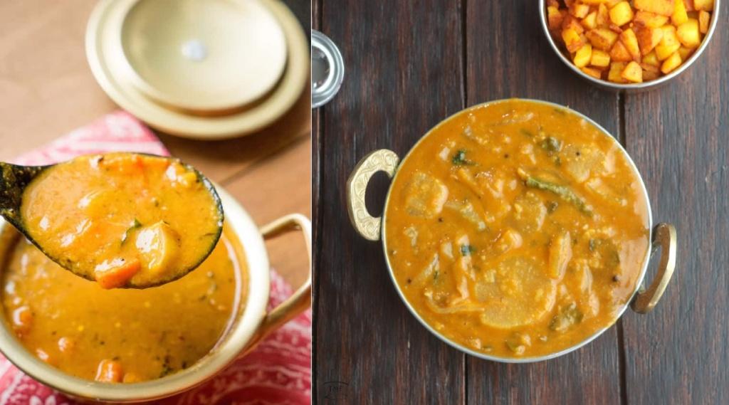 sambar recipe in tamil: arachuvitta sambar making in tamil