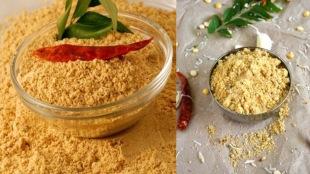 Paruppu podi recipe in tamil: Andhra Mess special pappu podi in tamil