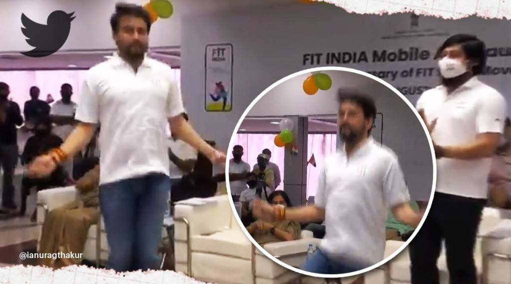 Viral video, sports minister anurag thakur ,
